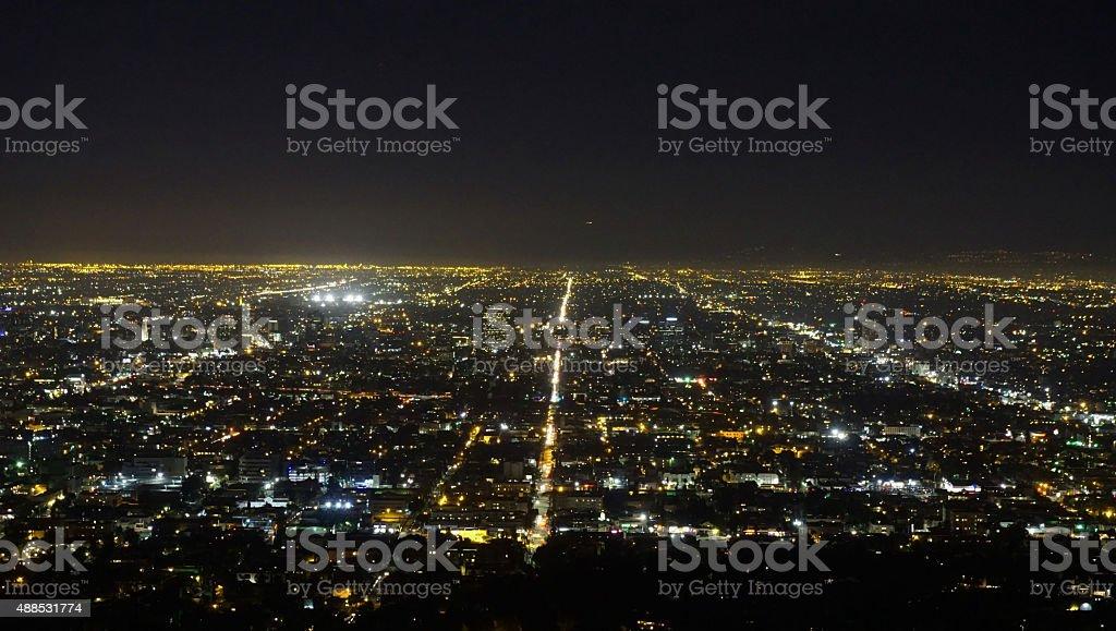 Night view of City of Los Angeles, California stock photo