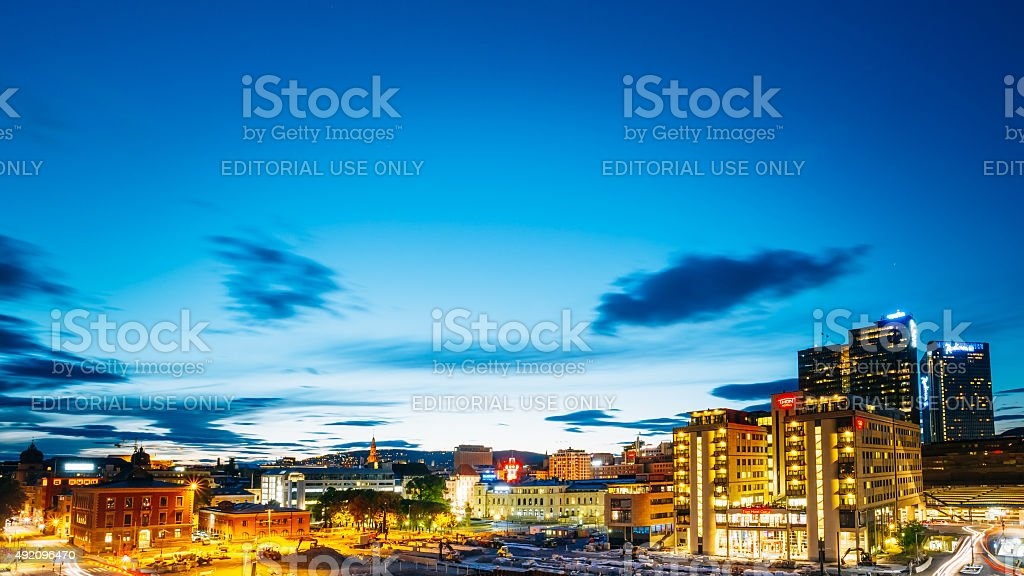 Night View of Cityscape in Oslo, Norway stock photo