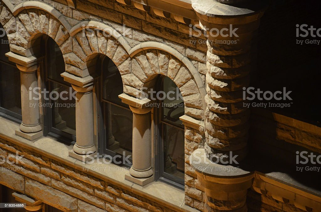 Night View of Classic Building in Chicago. Illinois stock photo