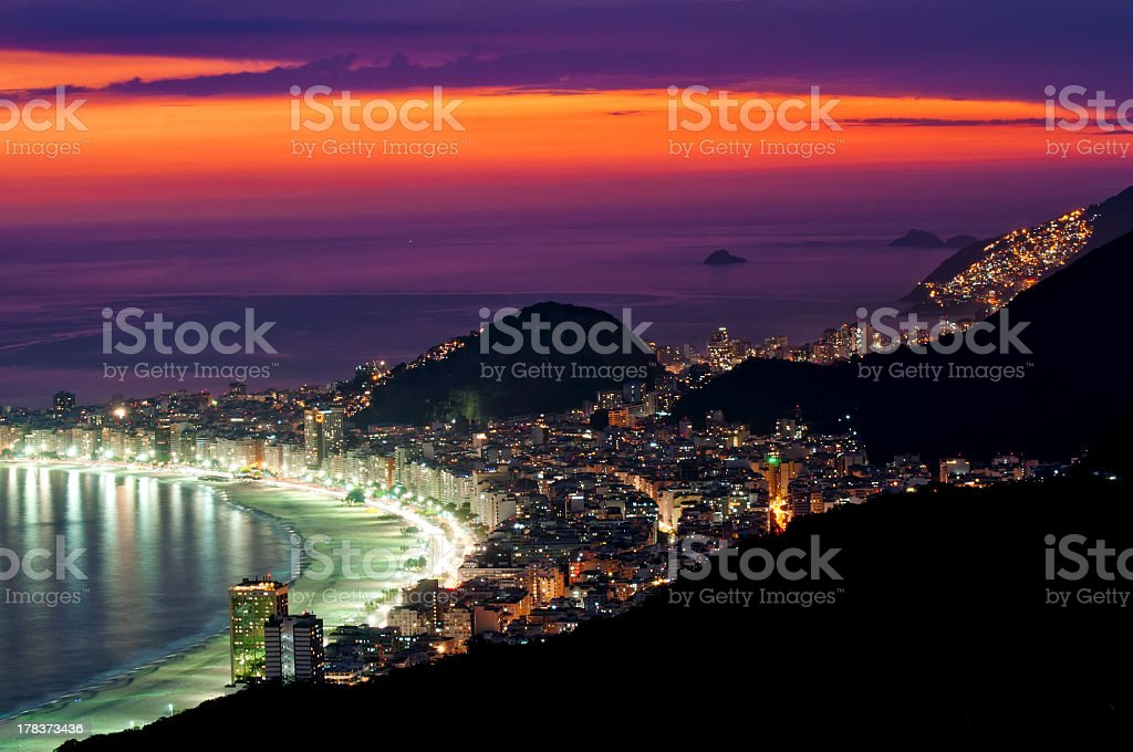 Night view of Copacabana beach stock photo