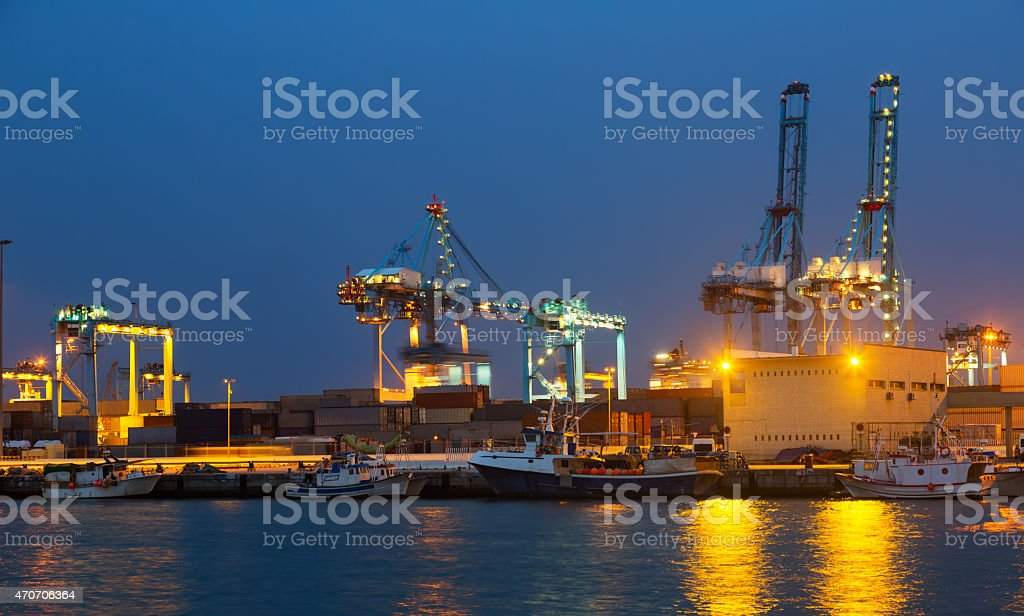 night view of   cranes  in seaport. Algeciras stock photo