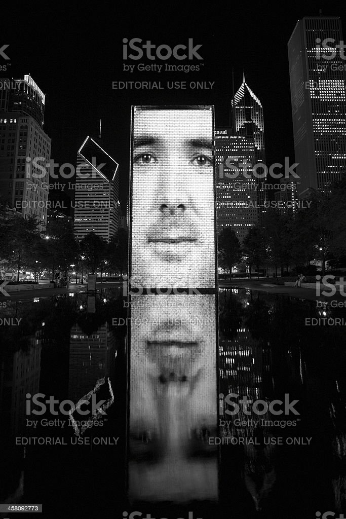 Night View Of Crown Fountain By Jaume Plensa royalty-free stock photo