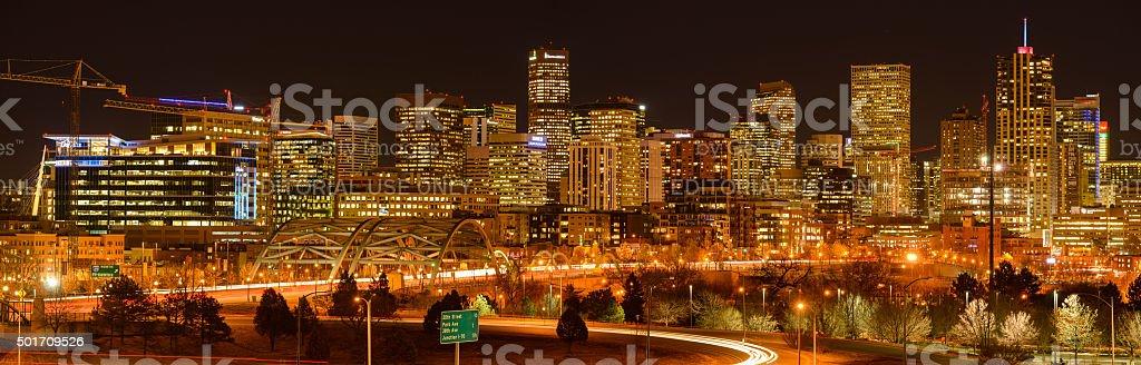 Night View of Denver Skyline stock photo