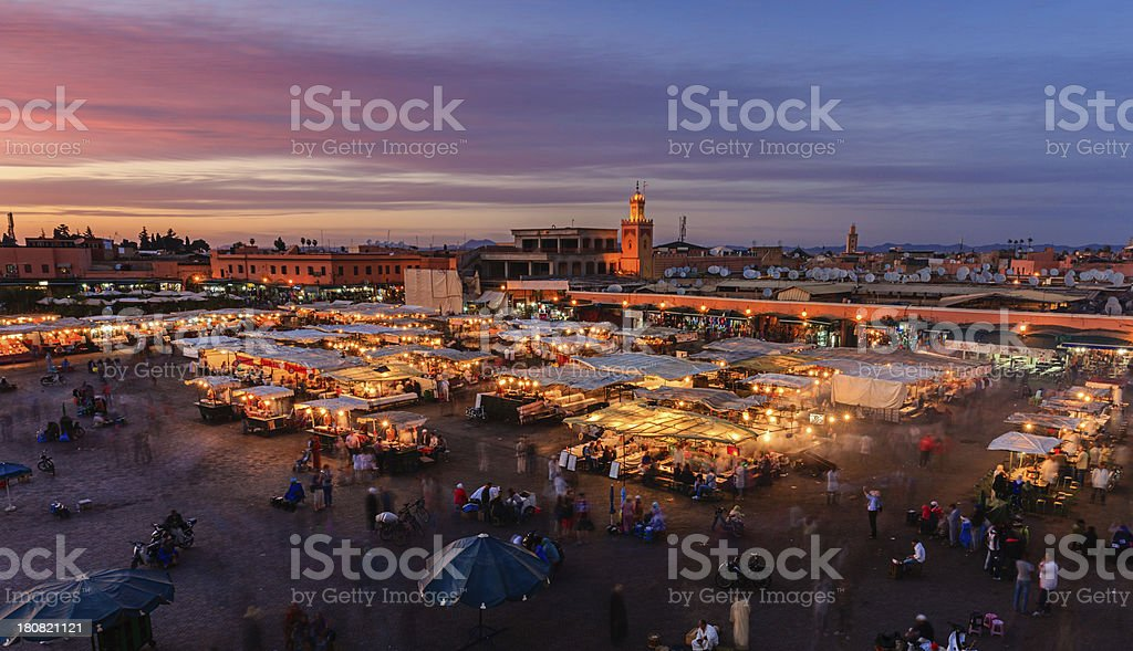 Night view of  Djemaa el Fna square, Marrakech, Morocco. stock photo