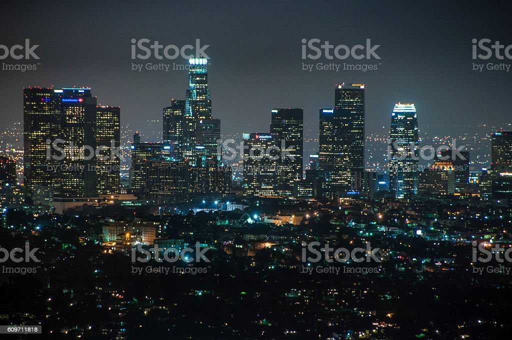 Night view of downtown Los Angeles, California United States stock photo
