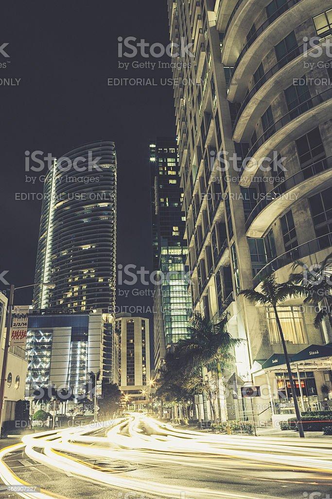 Night View of Downtown Miami stock photo