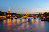 Night view of Eiffel Tower and Pont des invalides