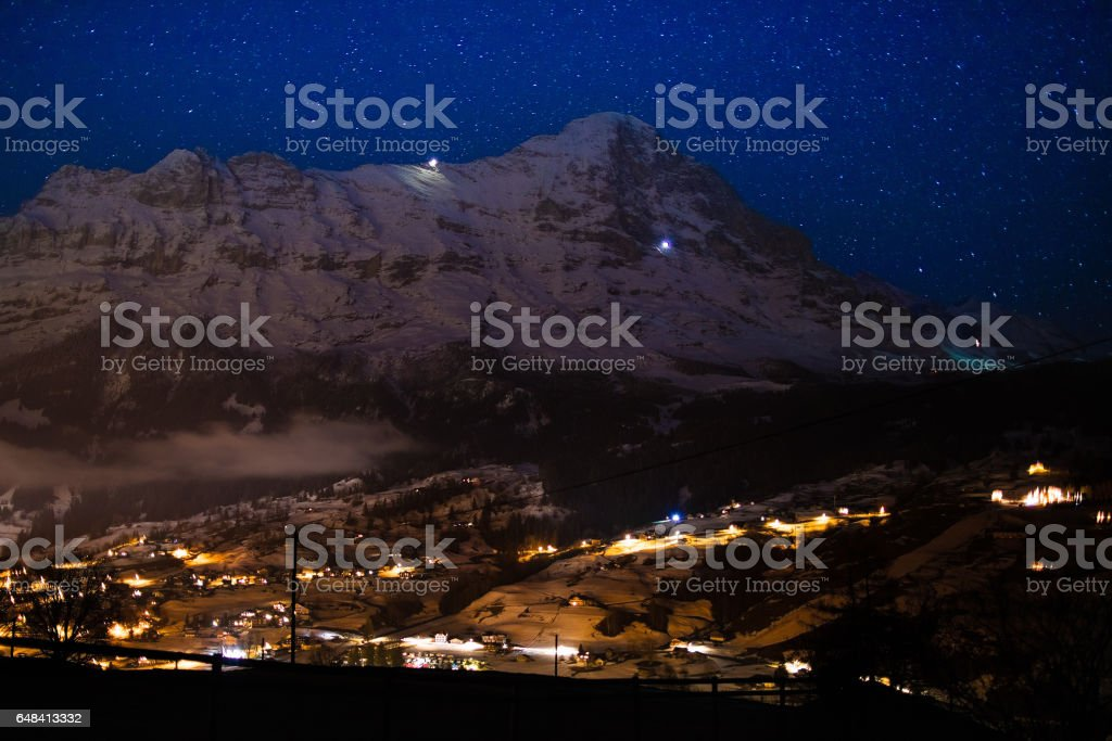 Night view of Eiger north face, Alps, Switzerland stock photo