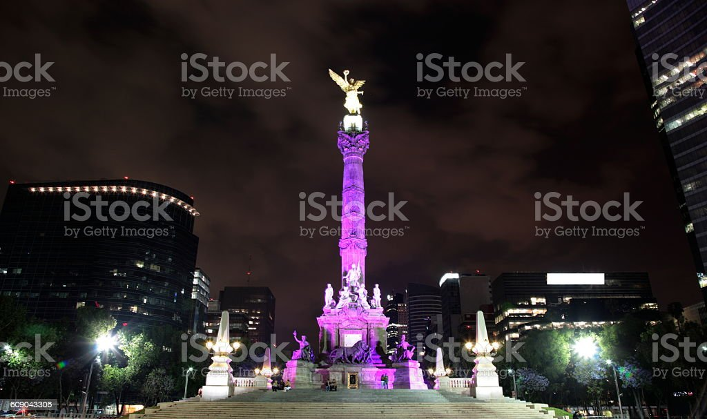 Night view of El Angel in Mexico city, Mexico. stock photo