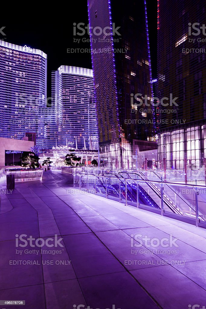 Night view of entrance to Aria Resort in Las Vegas stock photo