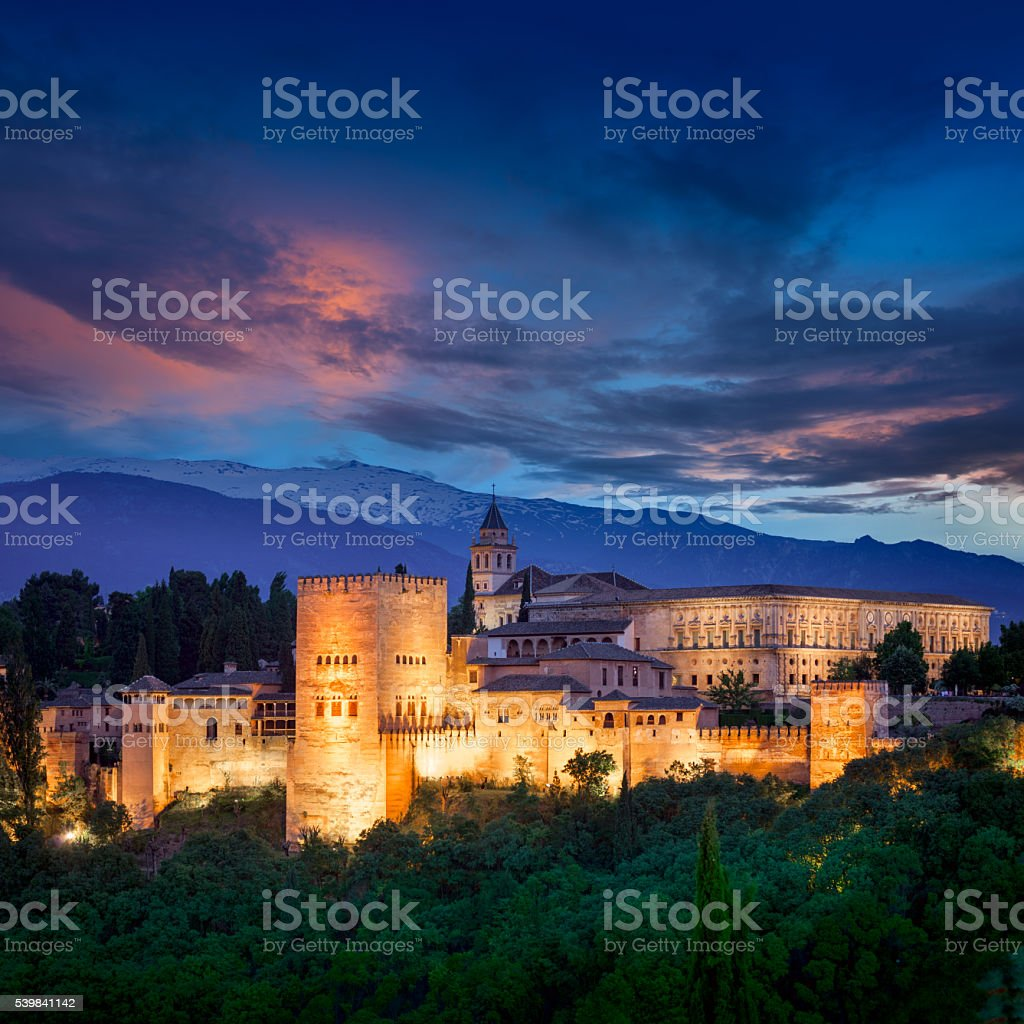 Night View of Fantastic Alhambra, European travel landmark stock photo