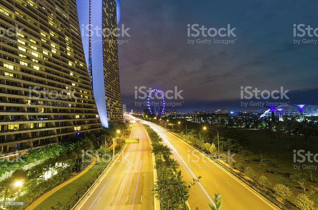 Night view of Financial district singapore at marina bay royalty-free stock photo