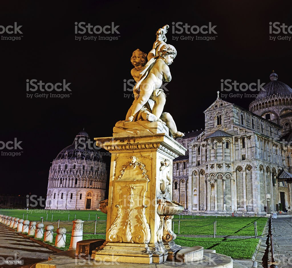 Night view of Fountain with Angels in Pisa, Italy stock photo