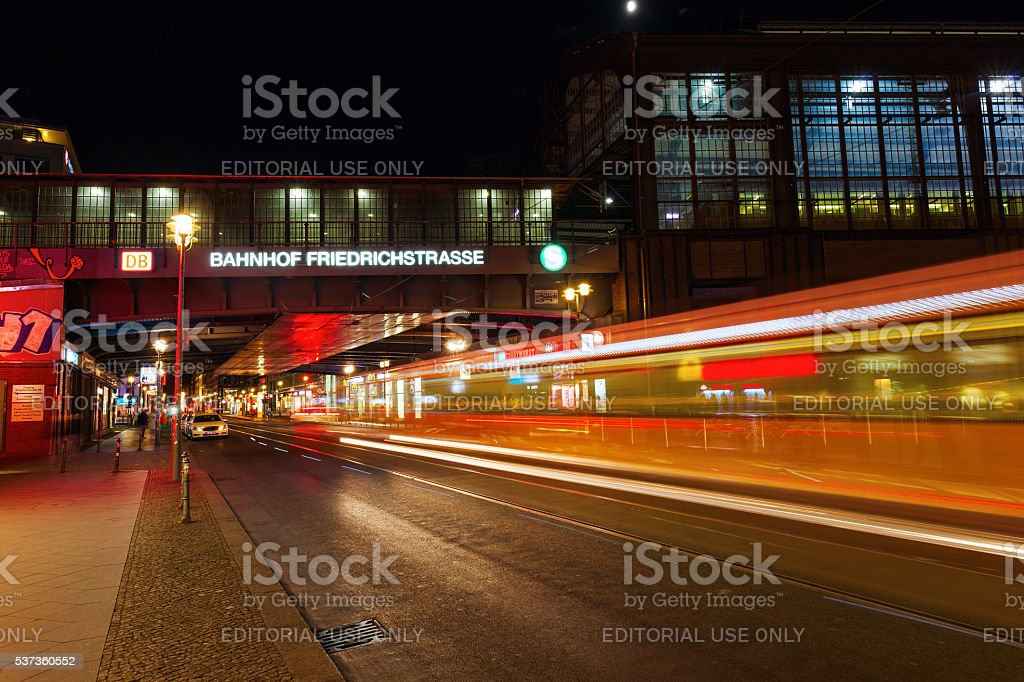 night view of Friedrichstrasse in Berlin, Germany stock photo