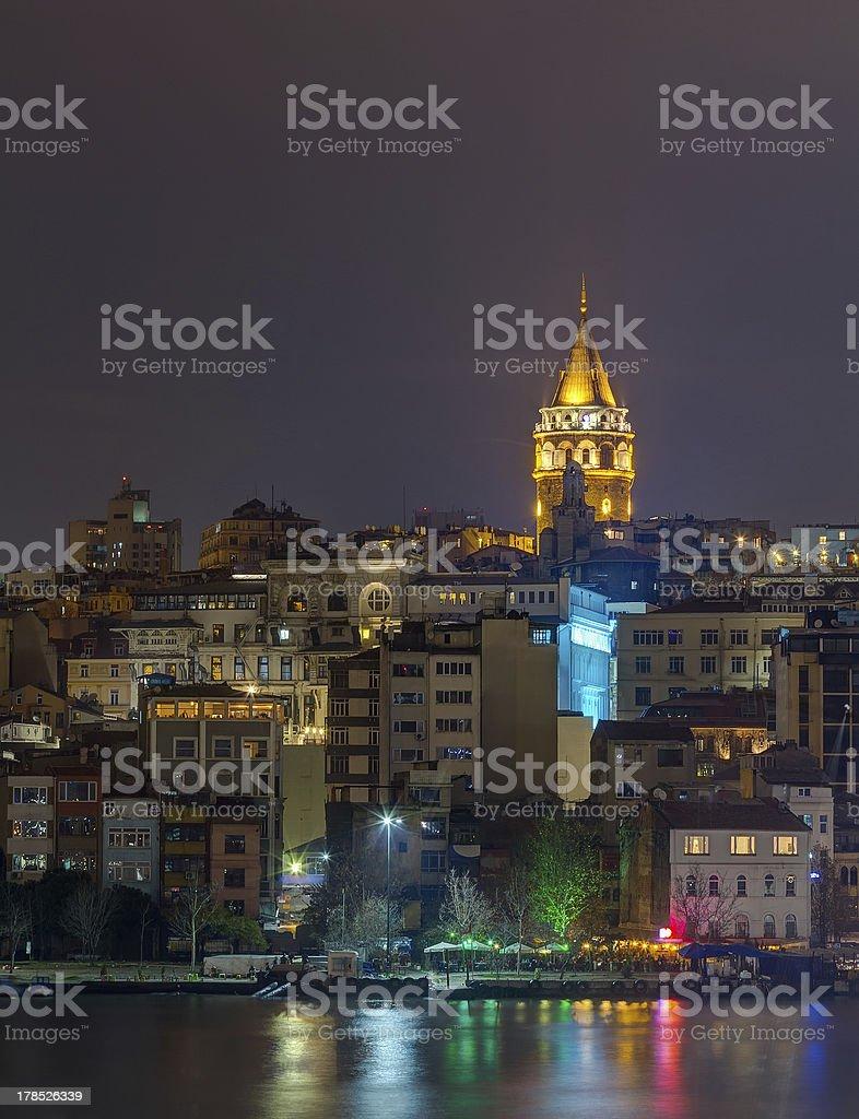 Night view of Galata Tower, Istanbul, Turkey royalty-free stock photo