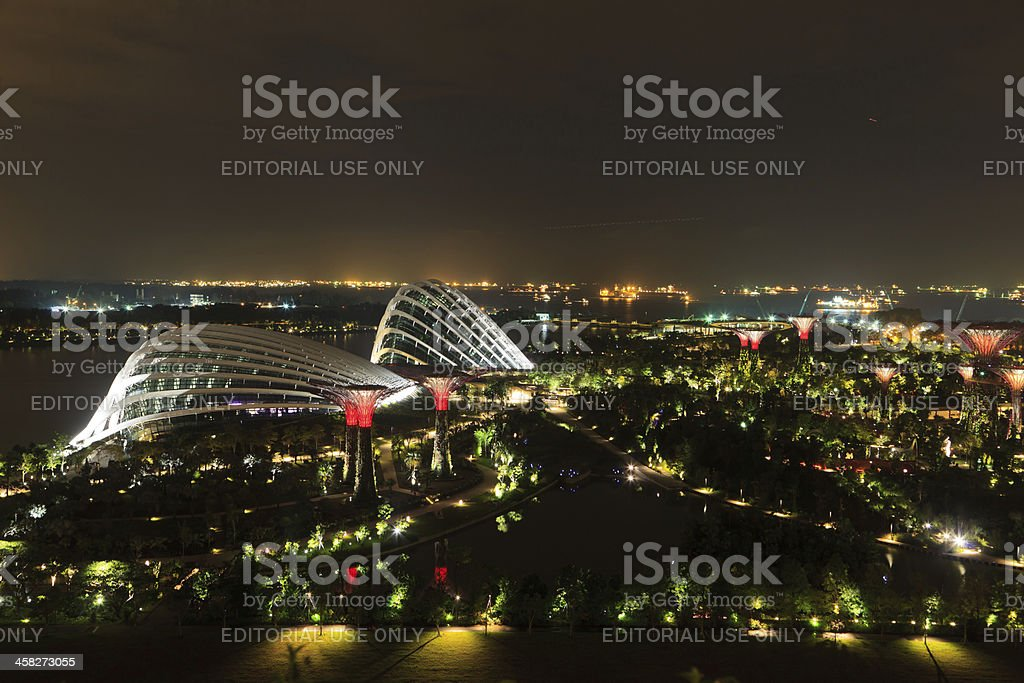 Night view of Gardens by the Bay, Singapore royalty-free stock photo