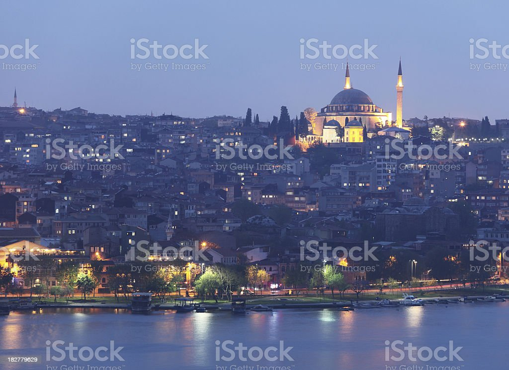 Night view of Golden Horn. stock photo