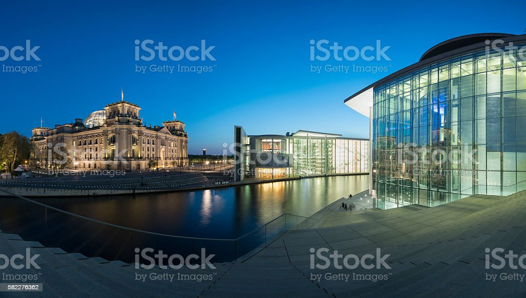 Night view of government buildings in Berlin Germany stock photo