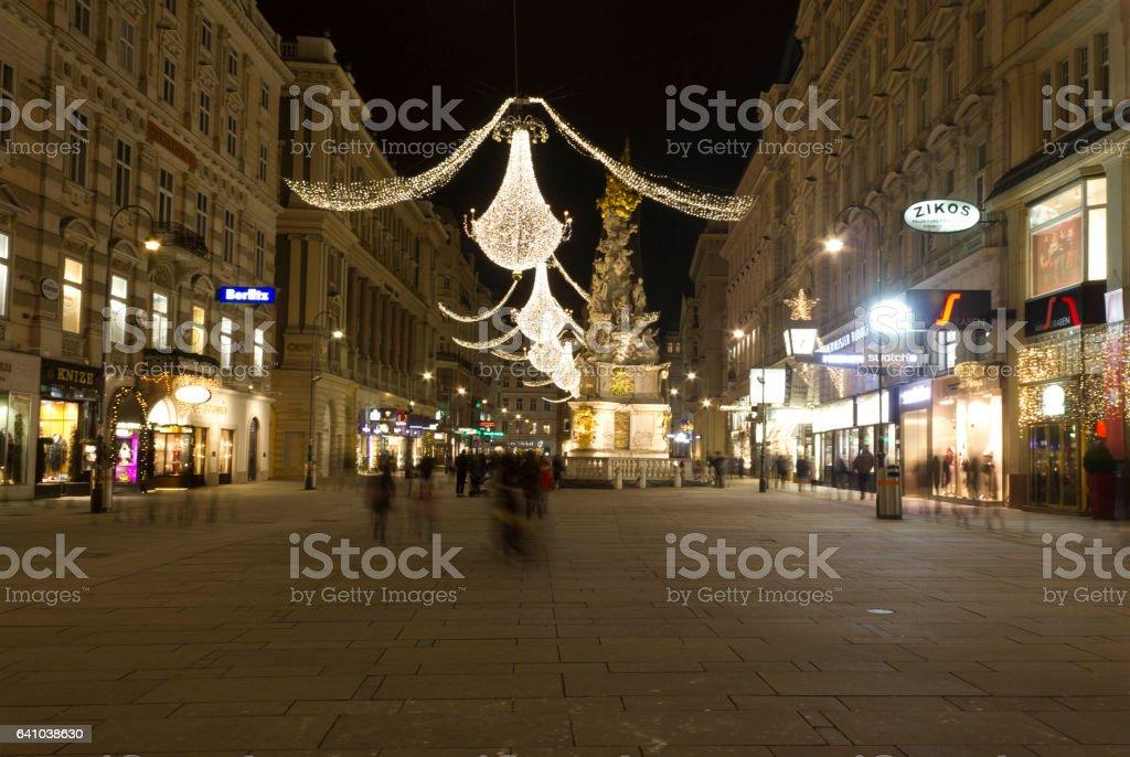 Night view of Graben Street in Vienna at night stock photo