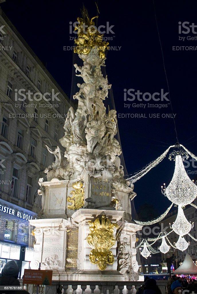 Night view of Graben street in Vienna during Christmas tim stock photo
