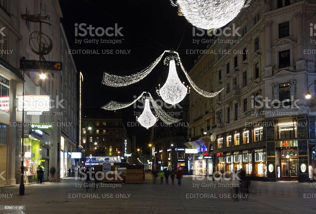 Night view of Graben street in Vienna stock photo