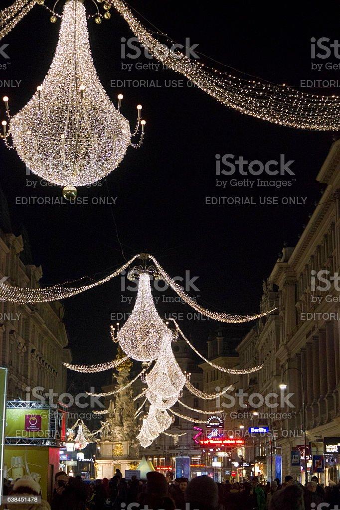 Night view of Graben street stock photo