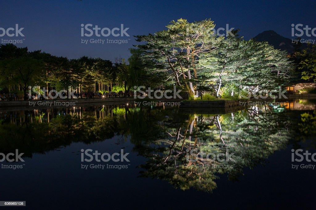 night view of gyeonghoeru pavilion in gyeongbokgung palace2 stock photo