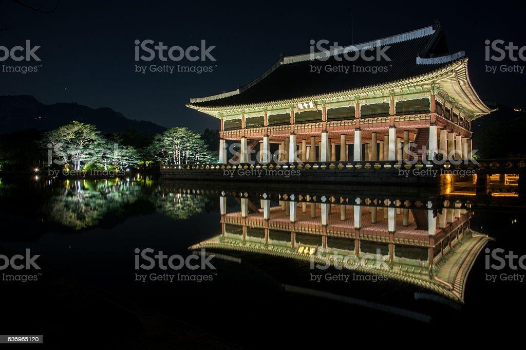 night view of gyeonghoeru pavilion in gyeongbokgung palace3 stock photo