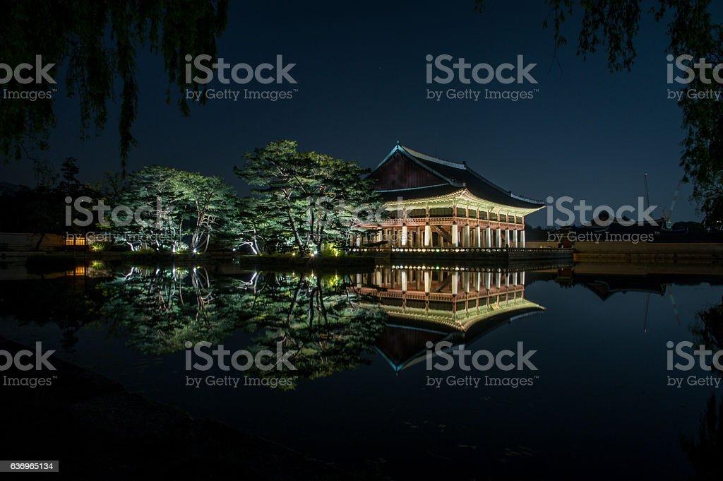 night view of gyeonghoeru pavilion in gyeongbokgung palace4 stock photo