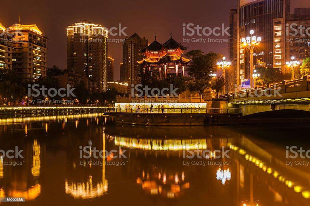 Night view of Hejiang Pavilion in Chengdu stock photo