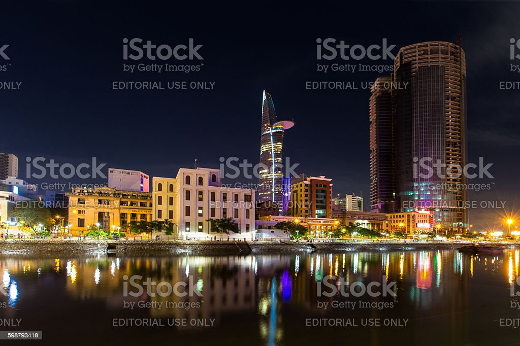 Night view of high building on Tau Hu canal stock photo