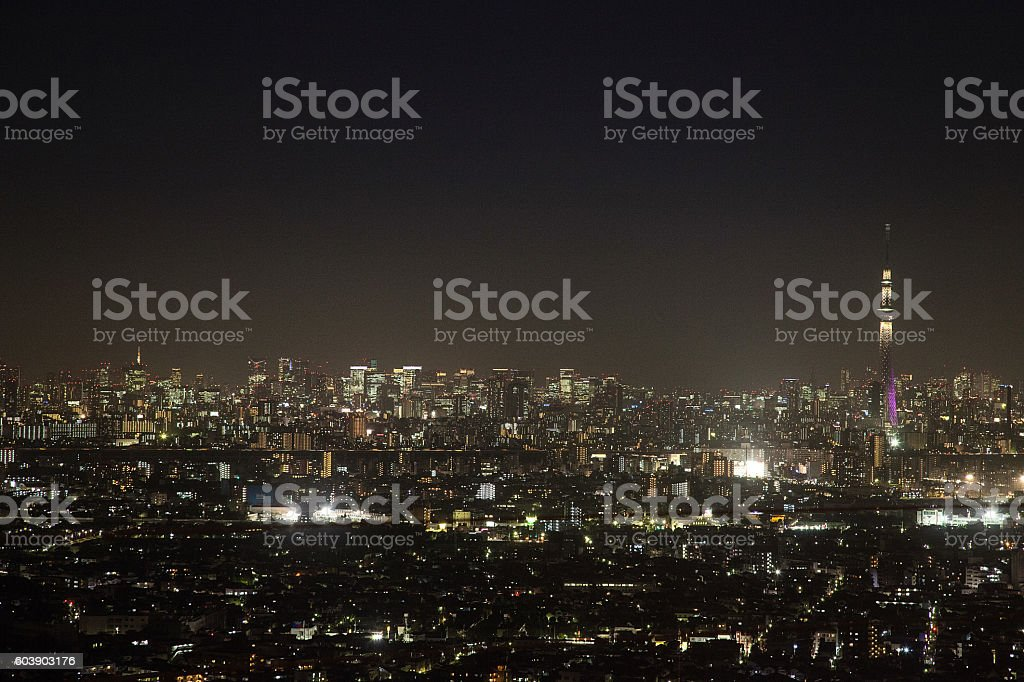 Night view of High-rise building and Tokyo Skytree stock photo