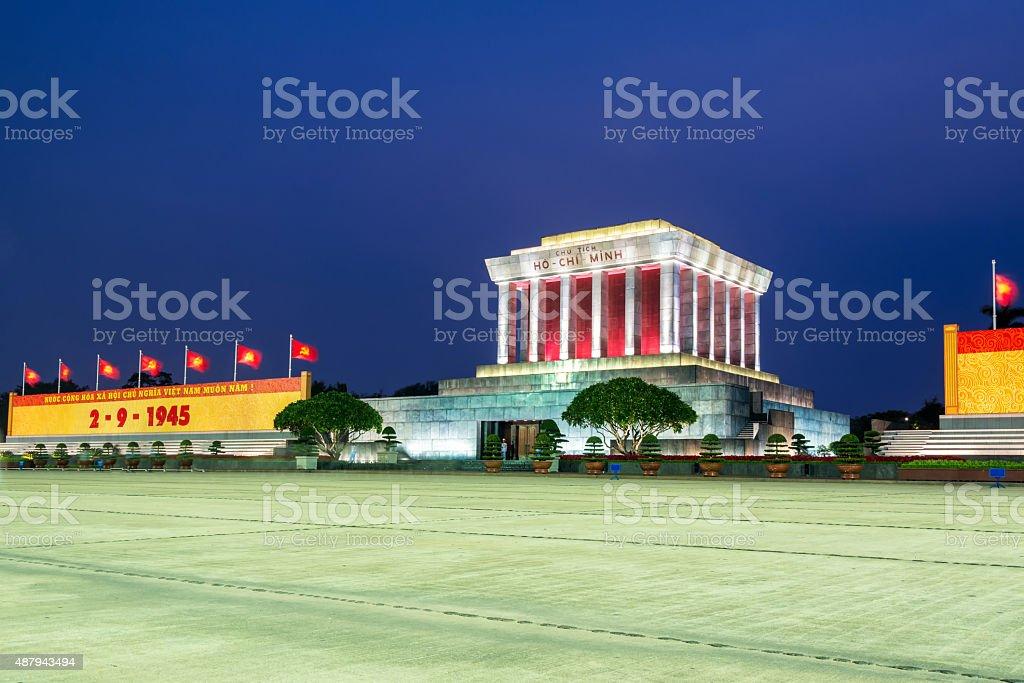 night view of Ho Chi Min mausoleum in Hanoi city stock photo