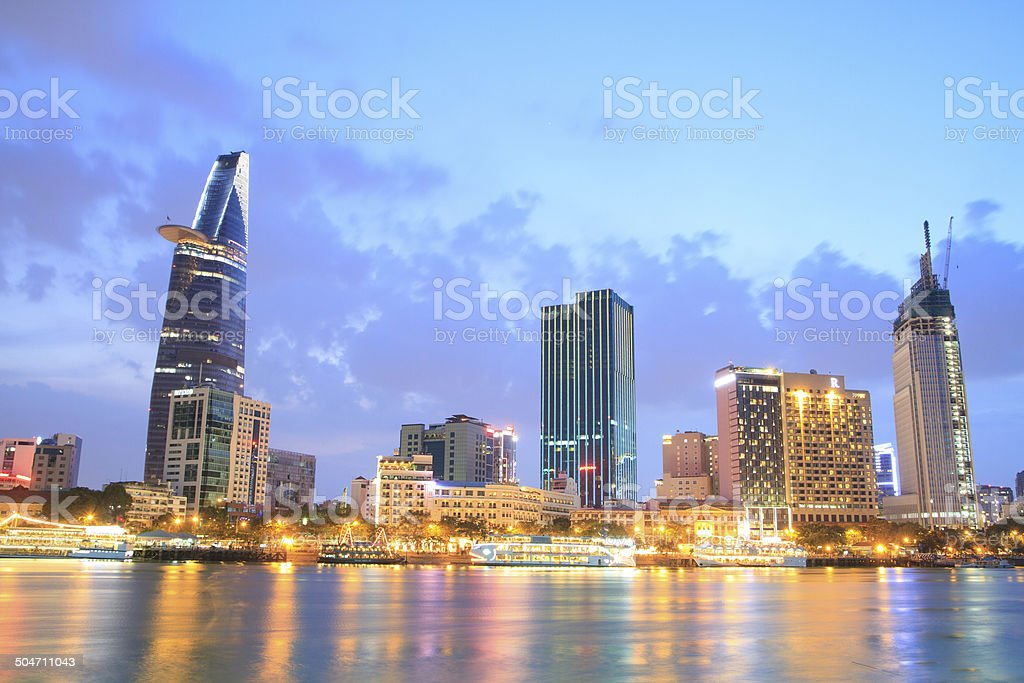 Night view of Ho Chi Minh City stock photo