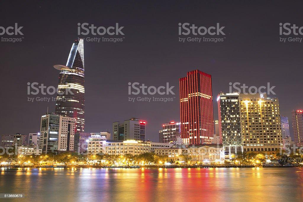 Night view of Ho Chi Minh City royalty-free stock photo