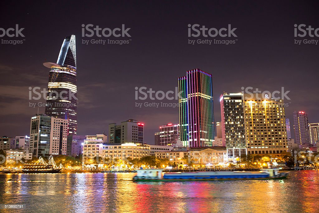 Night view of Ho Chi Minh City royalty-free stock photo