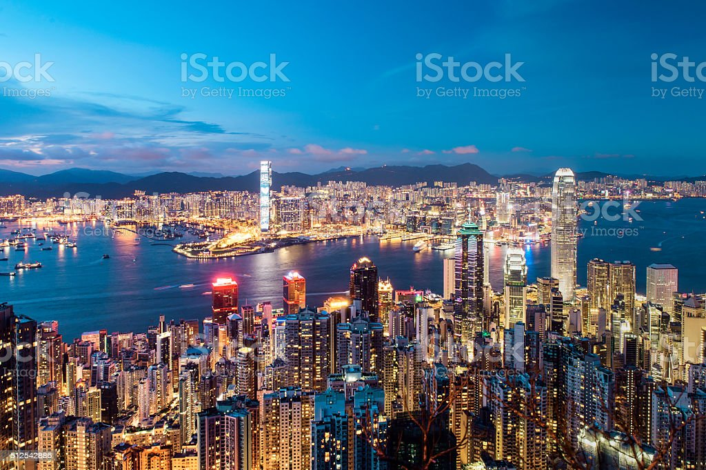 Night view of Hong Kong stock photo
