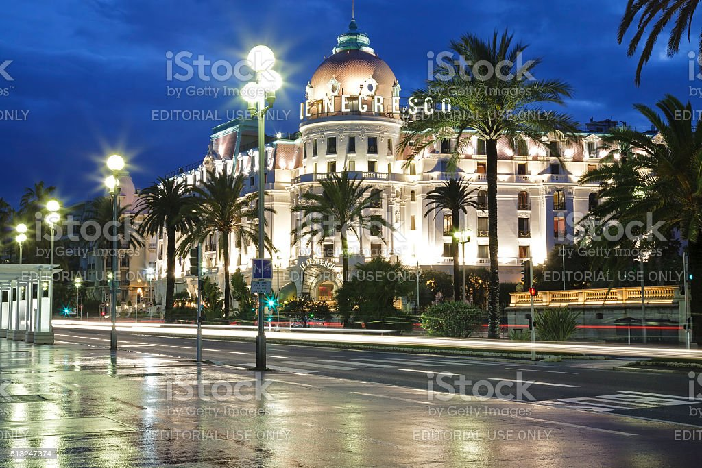 Night view of Hotel Negresco in the City of Nice stock photo