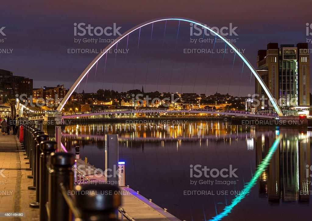 Night View of Illuminated Gateshead Millenium Bridge stock photo