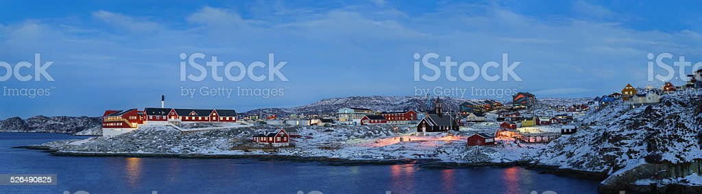 Night view of Ilulissat in Greenland stock photo