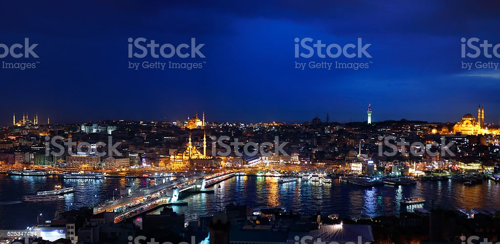 Night view of Istanbul and Big Horn stock photo