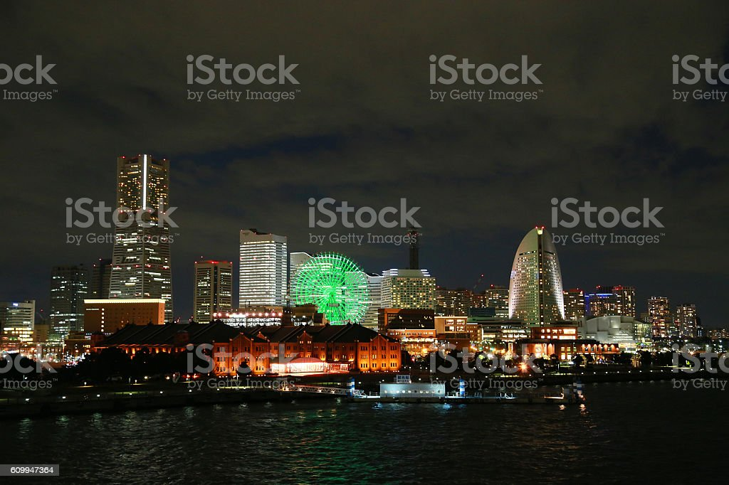 Night view of Japanese Yokohama Port foto de stock libre de derechos