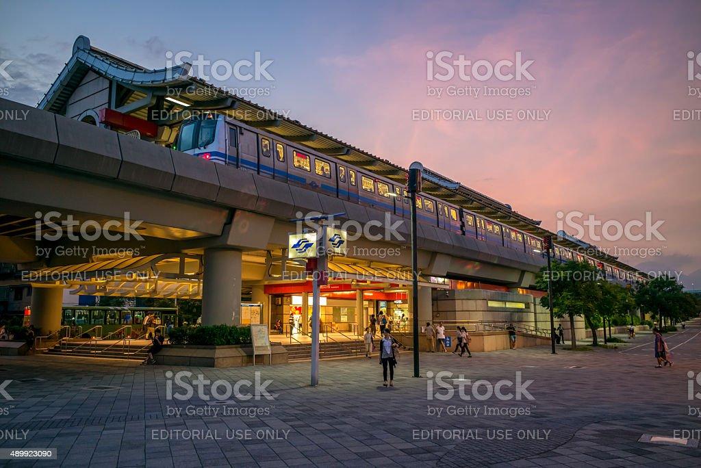 Night view of Jiantan MRT station stock photo