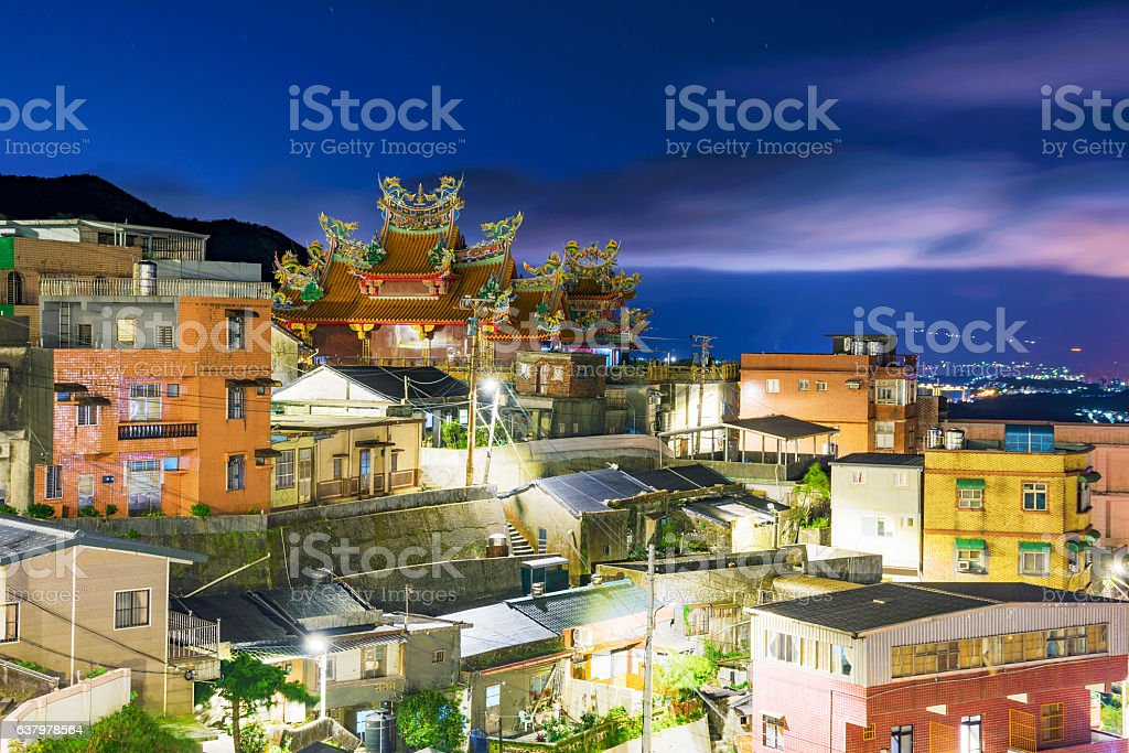 Night view of Jiufen architecture stock photo