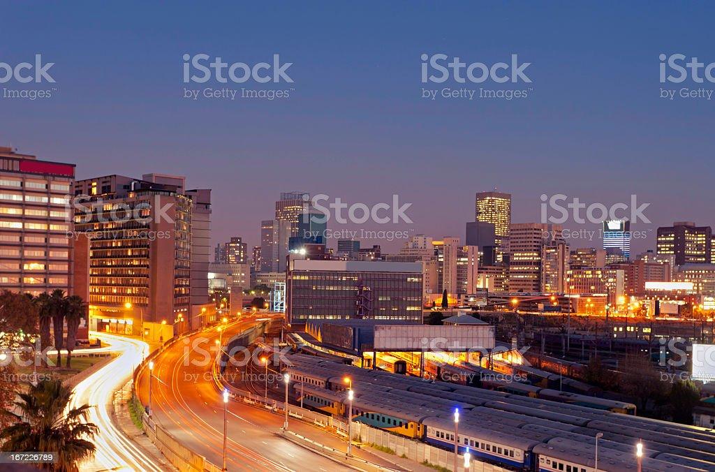 Night view of Johannesburg Park Station stock photo