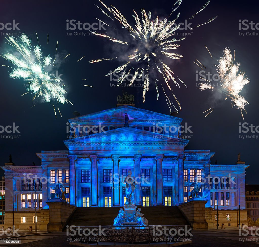Night view of Konzerthaus in cental Berlin stock photo