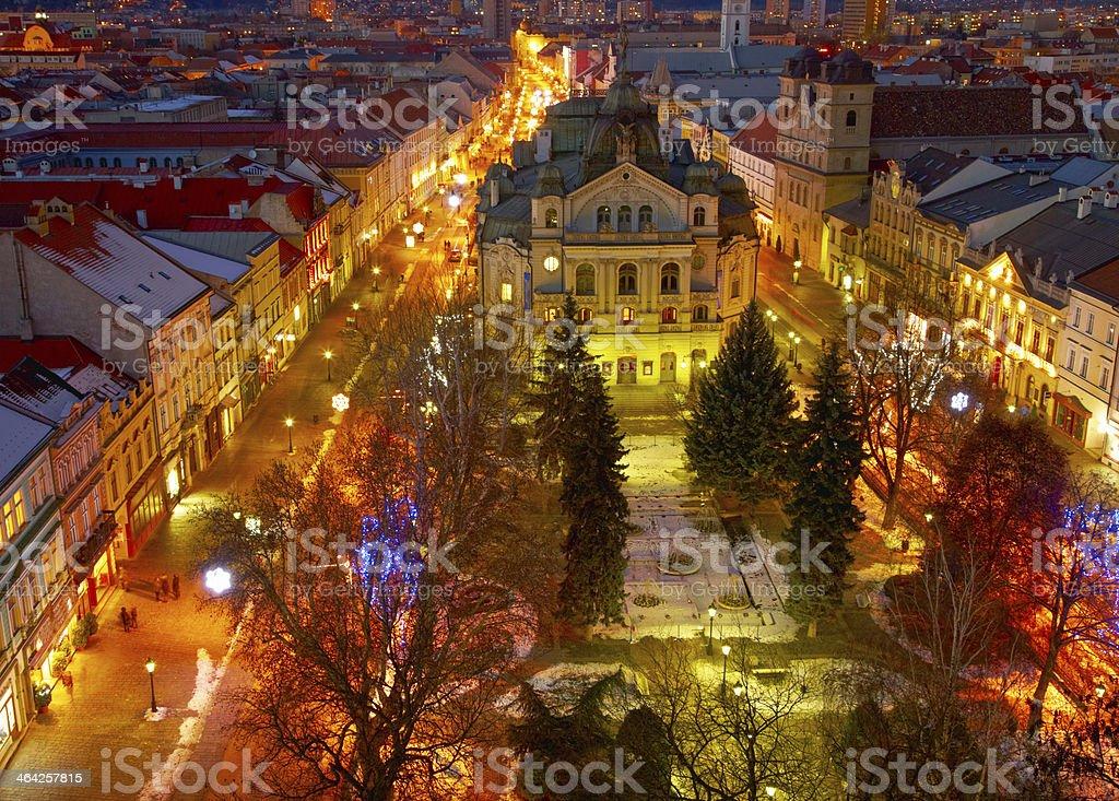 Night view of Kosice, Slovakia stock photo