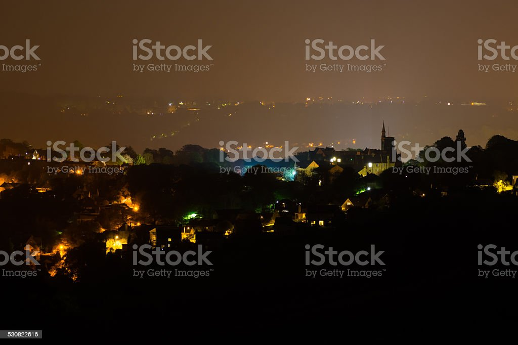 Night view of Lansdown and the Royal High School, Bath stock photo