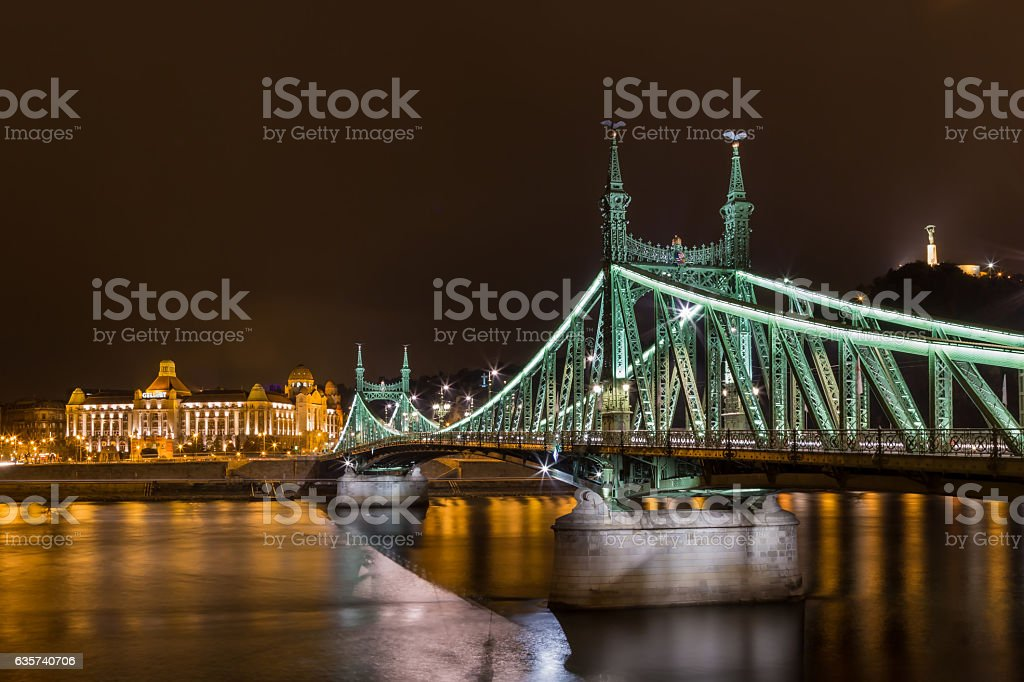 Night view of Liberty bridge in Budapest stock photo