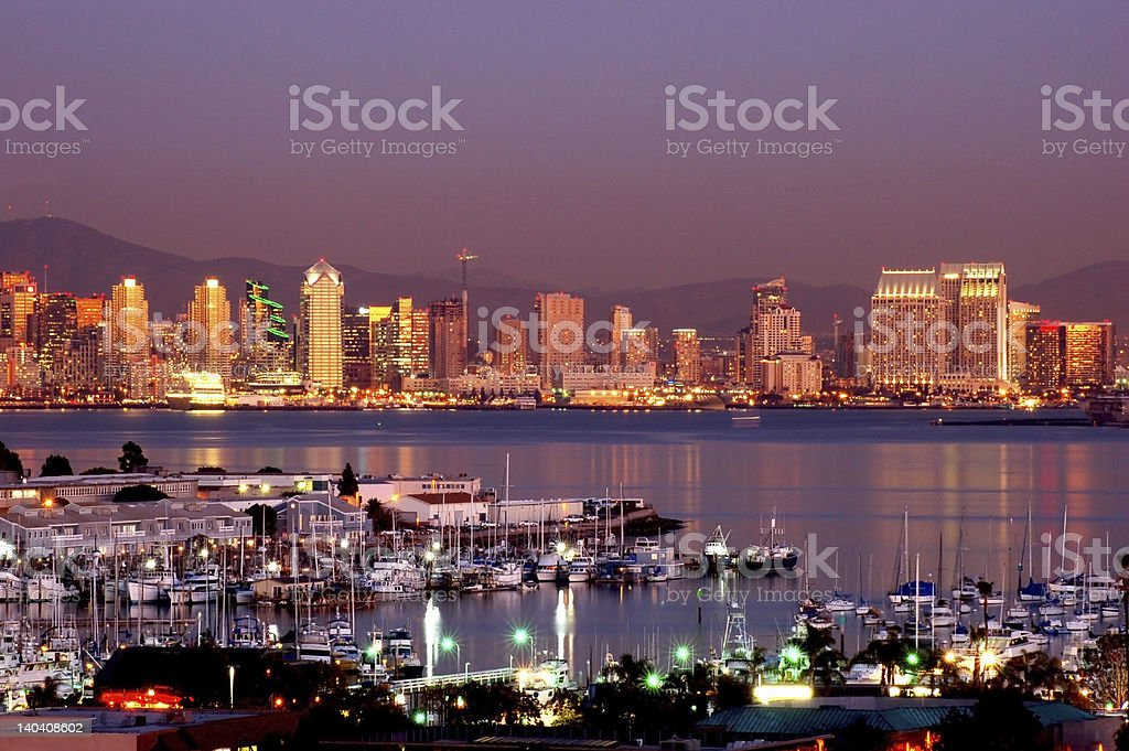 Night view of lit San Diego skyline from across the bay royalty-free stock photo